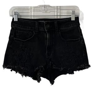 AEO Shortie Distressed Lace Shorts 2